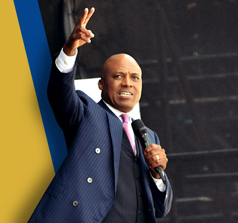 Grace Bible Church Website Bio Intro Picture Bishop Mosa Sono Preaching at Orlando Stadium